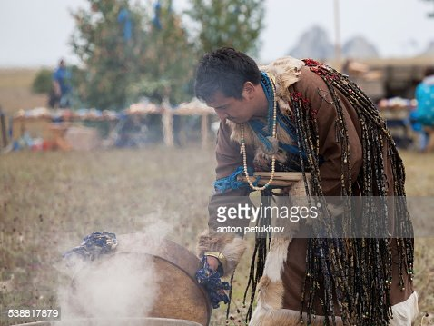Buryat shaman on the island of Olkhon
