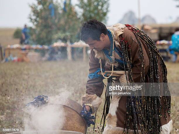 Buryat shaman on the island of Olkhon