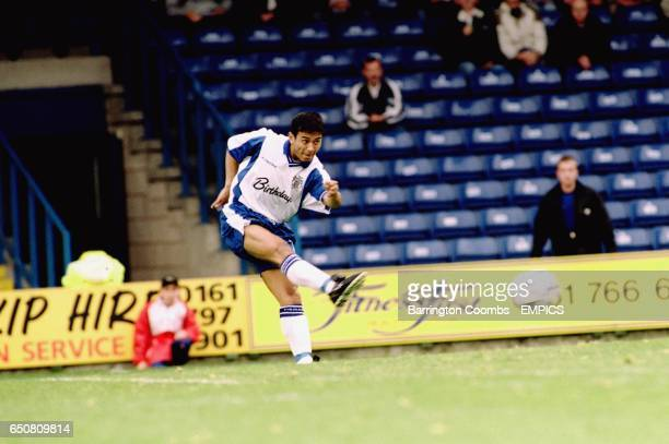 Bury's new signing Indian International player Baichung Bhutia in action on his debut