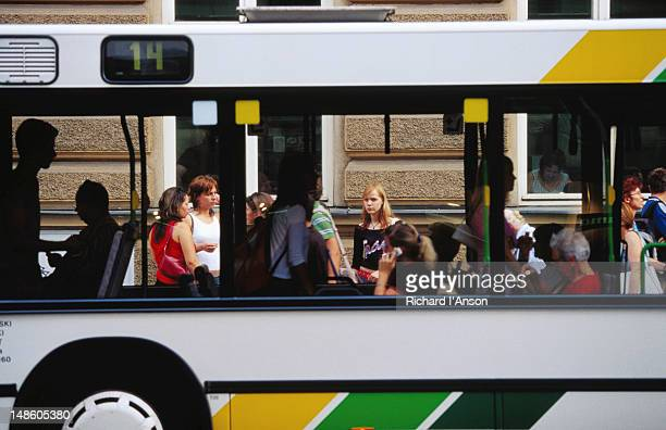 Bus at stop on Republic Square.
