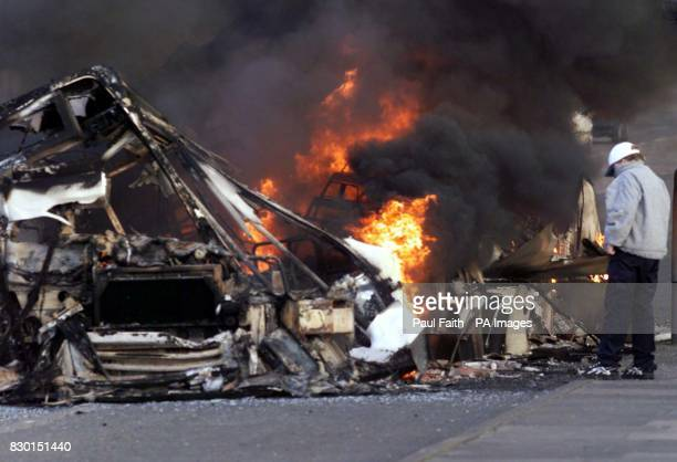 A bus burns on the nationlist Garvaghy Road in Portadown after being hijacked this evening Tensions were high in Northern Ireland tonight in the...