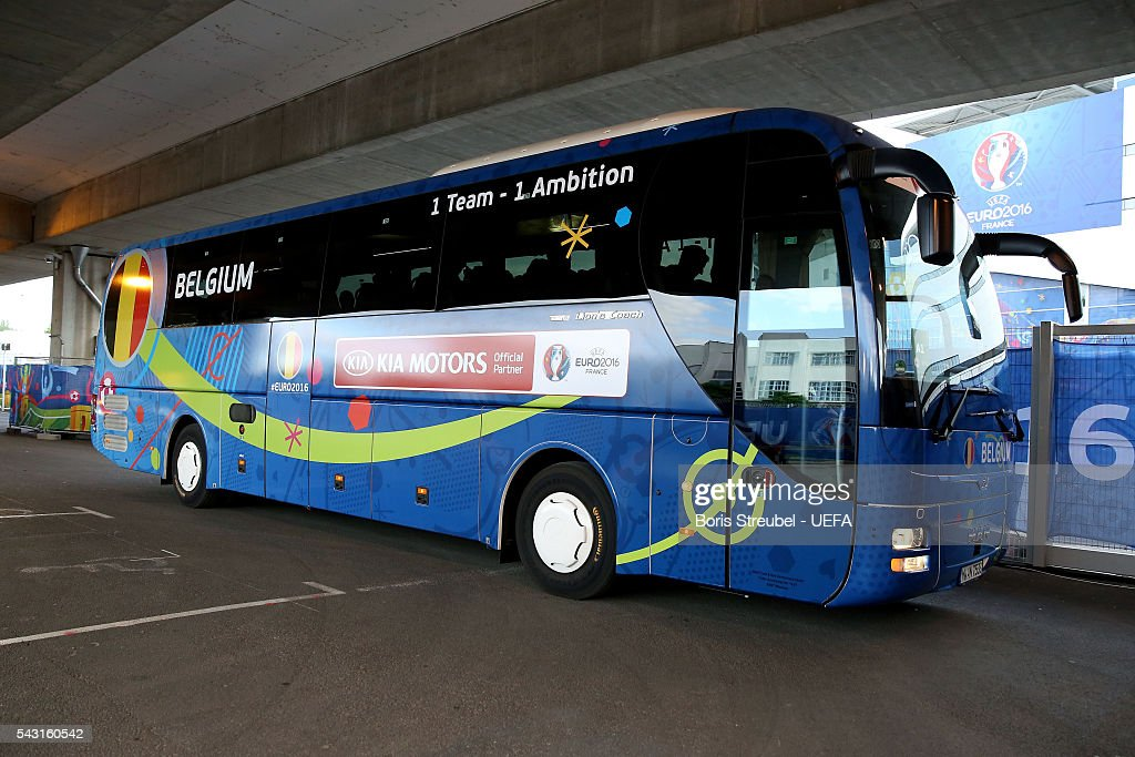 A bus carrying Belgium players is seen on arrival at the stadium prior to the UEFA EURO 2016 round of 16 match bewtween Hungary and Belgium at Stadium Municipal on June 26, 2016 in Toulouse, France.