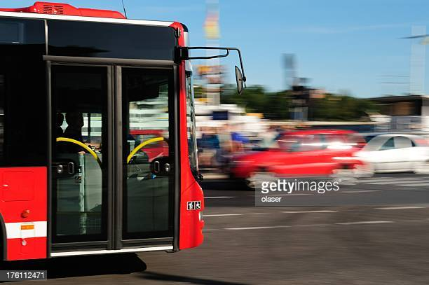 Bus in the city traffic, rush hour