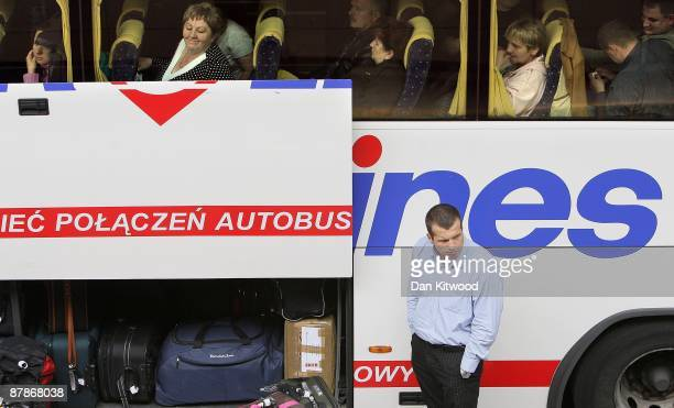 A bus leaves for Poland from Victoria coach station on May 20 2009 in London England The Office for National Statistics has released new figures...