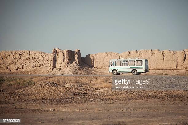 A bus near Mary, Turkmenistan