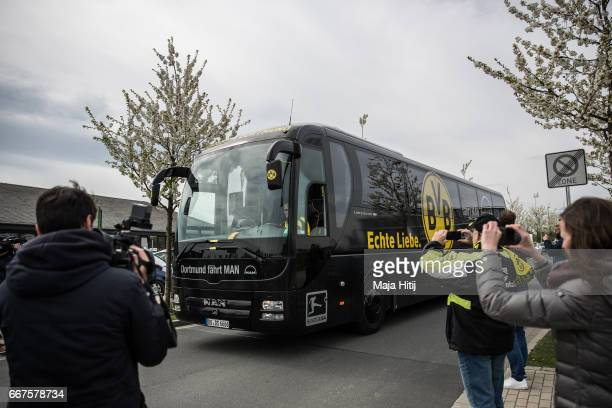 Bus of Borussia Dortmund arrives to the Dortmund Brackel Training Ground of Borussia Dortmund prior the UEFA Champions League Quarter Final first leg...