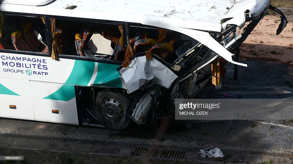 A bus of French transportation company RATP stands crashed on highway D5 near Rokycany, Czech Republic, on April 08, 2013. 41 passengers were injured, one mortally, in the accident of a French bus on its way to Prague.