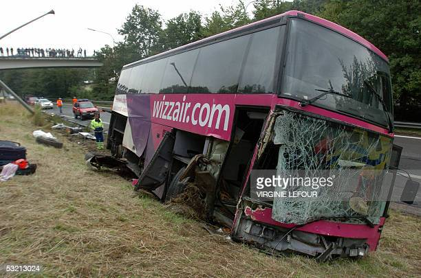 A bus of Wizz Air transporting tourists of various nationalities from Brussels South Airport to Charleroi crashes at the A54 motorway near Thimeon...