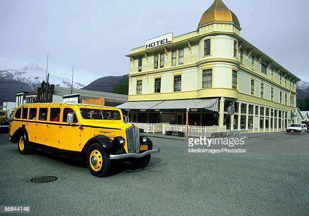 Bus on a street, Skagway, Alaska, USA