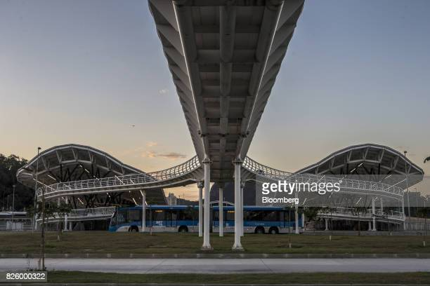 A bus passes in front of a Bus Rapid Transit station near Olympic park in Rio de Janeiro Brazil Brazil on Wednesday Aug 2 2017 Nearly one year after...