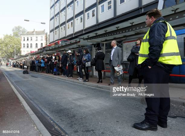 Bus queues outside Victoria station London on the second day of a 48 hour strike by tube workers on the London Underground over ticket office closures