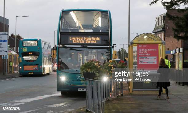 Bus services outside Hunts Cross station in Liverpool as rail guards take strike action Members of the RMT union are staging a 24hour strike as...