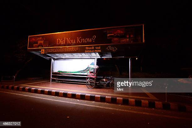 Bus Shelter in night on August 27 2014 in New Delhi India