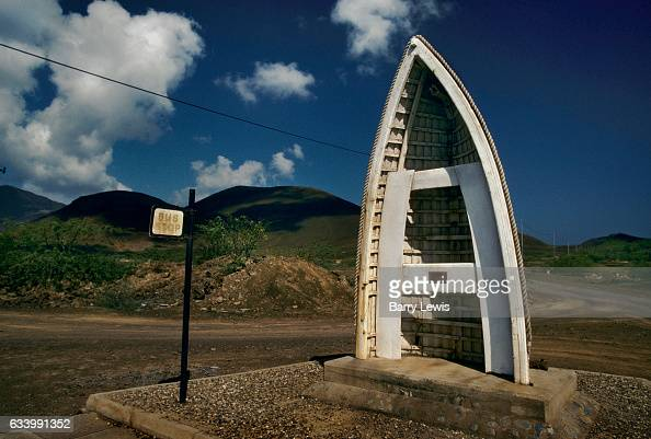 Bus shelter made from a boat 27th May 1997 on Ascension a small isolated volcanic island in the equatorial waters of the South Atlantic Ocean roughly...