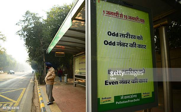 Bus shelters have Delhi Govt advertisements about oddeven numbers on December 31 2015 in New Delhi India The Delhi government's new proposed rule to...