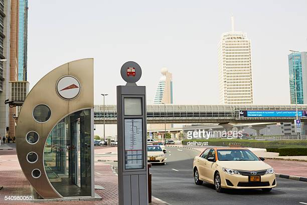 Bus stop and taxi in Dubai