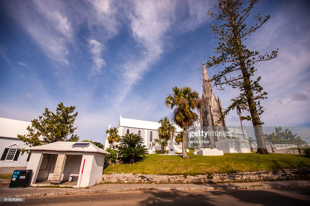 Bus stop, Church and cemetery on Bermuda : Stock Photo