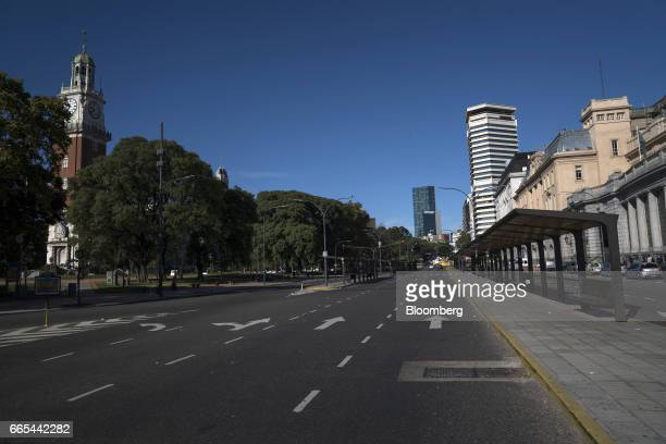A bus stop in front of Retiro bus station sits empty during a national strike in Buenos Aires Argentina on April 6 2017 Argentina was brought to a...