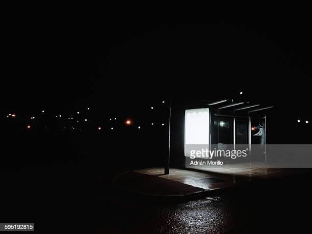 Bus stop in the night