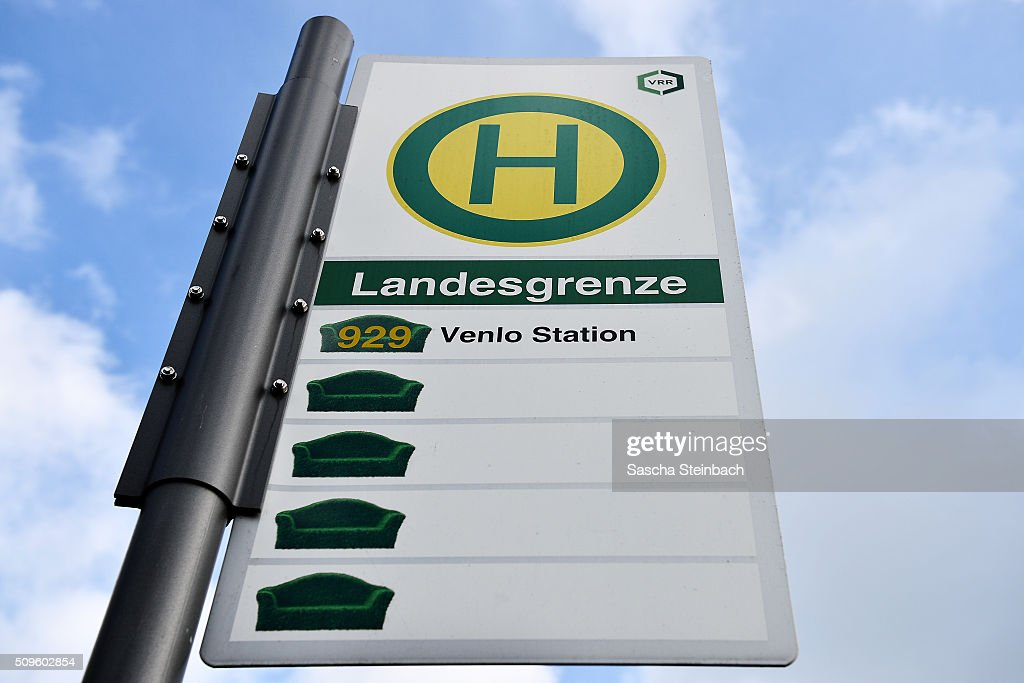 A bus stop sign marks entry to Holland at Niederdorfer Street on the German-Dutch border on February 11, 2016 near Straelen, Germany. Despite an announcement by Dutch authorities two days before that effective immediately police would begin conducting stricter controls of incoming traffic at border crossings to Germany not a single Dutch police officer was present at at least 15 border crossings today. Dutch authorities made the announcement as part of an effort to prevent migrants who have no case for asylum from entering Holland.
