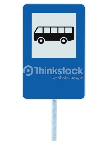 bus stop sign post pole traffic road roadsign blue isolated stock