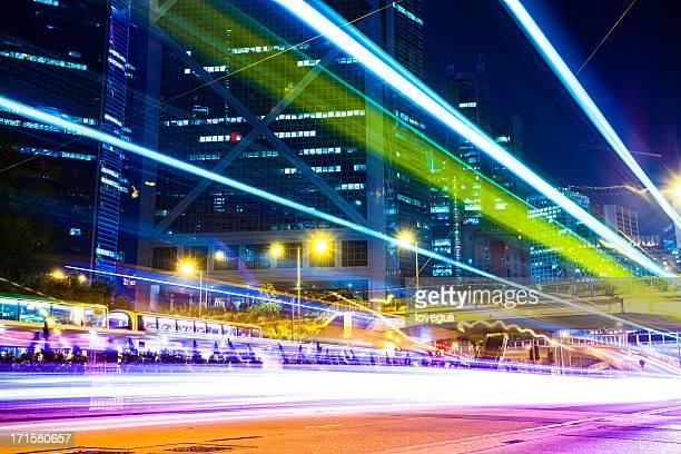 bus through street with blur light