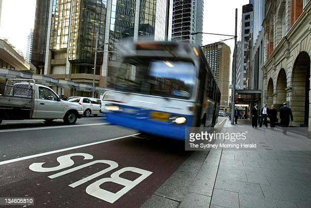 A bus travels along a bus lane on George Street Sydney 22 June 2005