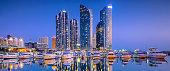 Busan, South Korea city skyline in the Haeundae waterfront district.