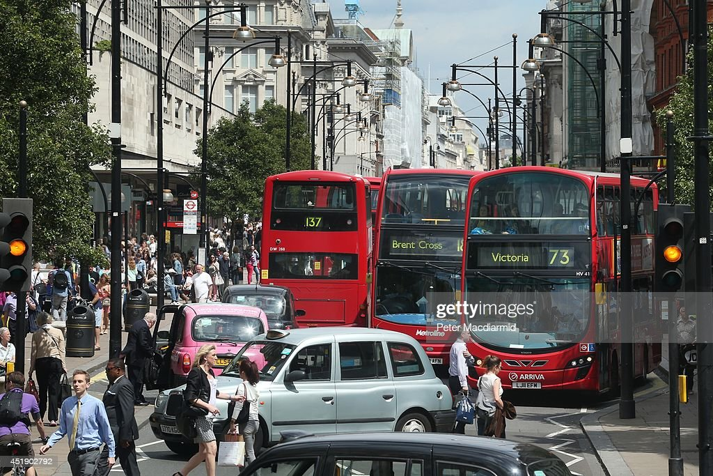 Buses and taxis fill Oxford Street on July 9 2014 in London England Researchers from King's College London have found that concentrations of nitrogen...