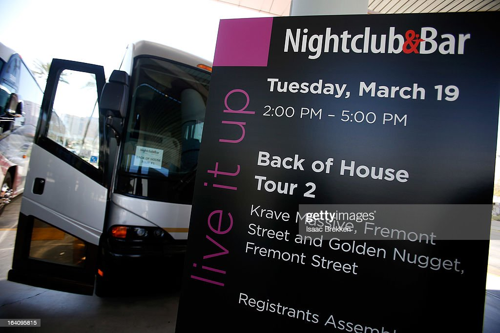 Buses are lined up to take attendees on back-of-house tours during the 28th annual Nightclub & Bar Convention and Trade Show at the Las Vegas Convention Center on March 19, 2013 in Las Vegas, Nevada.