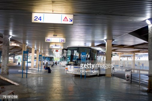 Buses in a bus station, Nice, France : Stock Photo