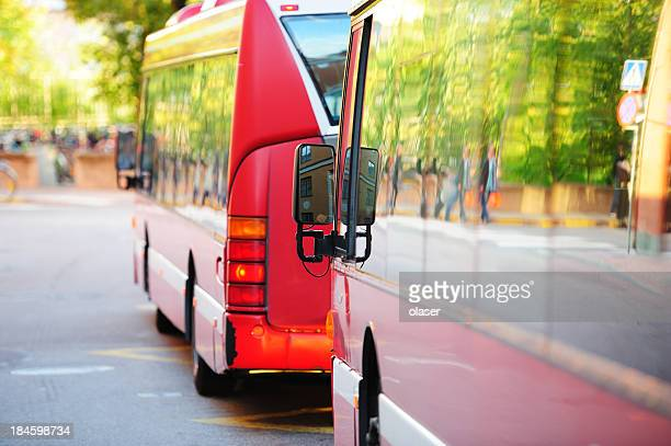 Les bus de la ville de circulation, les arbres verdoyants