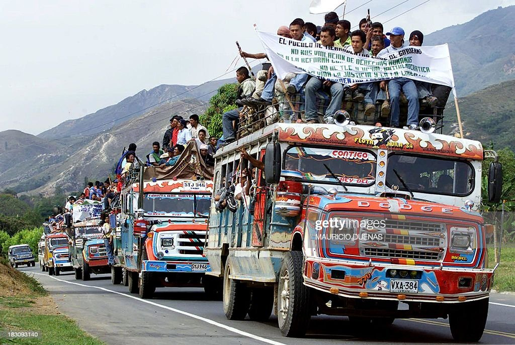 Buses Loaded With Indigenous Peasants Drive September - Departments of colombia 2004