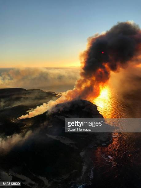 A bush fire burns in a national park at Kurnell on September 4 2017 in Sydney Australia The blaze has gone through about 50 hectares of bush which...
