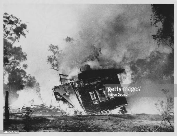 Bush fires in Victoria near Melbourne Australia in January 1969 were the worst in the state since 1943 and killed some 14 people Lara 36 miles...