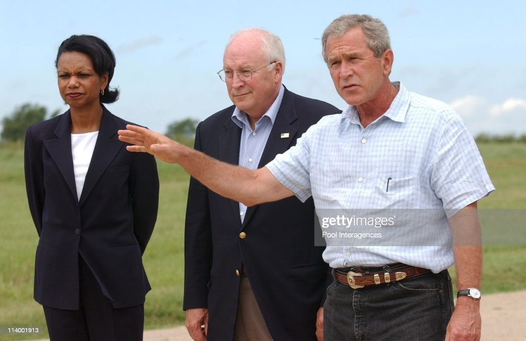 Bush holds Press Conference at Crawford Ranch In Crawford United States On August 23 2004 President Bush answers a question during a press conference...
