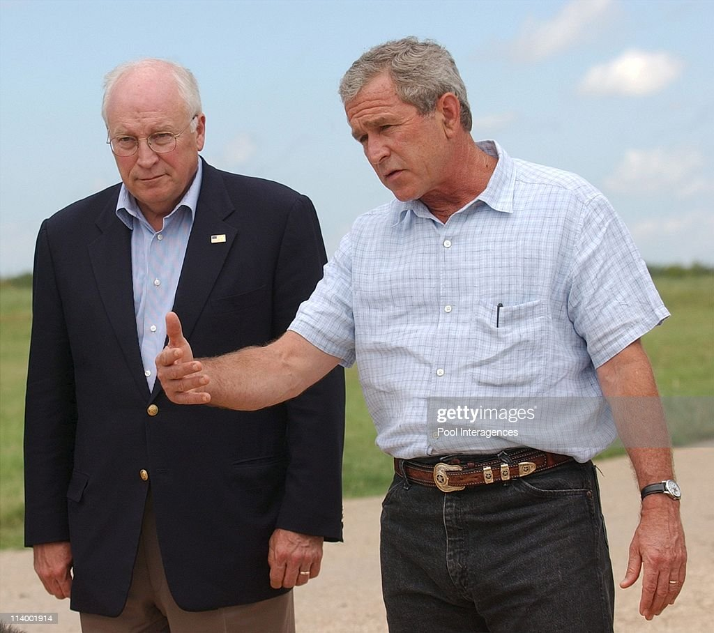 Bush holds Press Conference at Crawford Ranch In Crawford United States On August 23 2004 President Bush along with Vice President Dick Cheney...