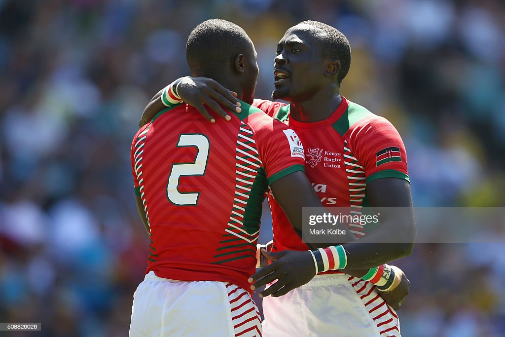 Bush Mwale of Kenya celebrate with Collins Injera of Kenya after scoring a try during the 2016 Sydney Sevens playte semi final match between Kenya and the United States of America at Allianz Stadium on February 7, 2016 in Sydney, Australia.