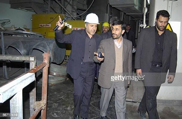 Iranian President Mahmoud Ahmadinejad visits the Bushehr nuclear power plant 01 February 2006 Iran's hardline president who was speaking to thousands...