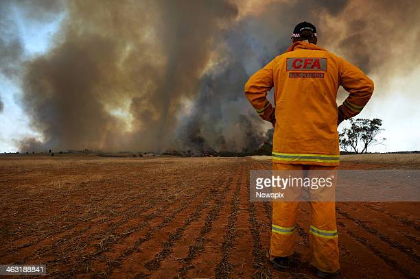 Bushfires burn north of Yaapeet off Goslings Road on January 16 2014 in the Wimmera region of western Victoria Over 65 fires are burning across the...