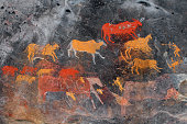 Bushmen (san) rock painting of antelopes, South Africa