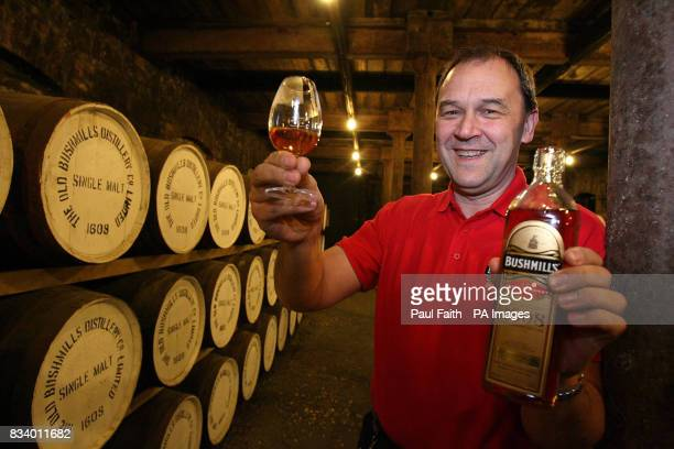 Bushmills Whiskey Director Gordon Donoghue with 400th anniversary whiskey pictured at the Bushmills Distillery in North Antrim on December 19 2007