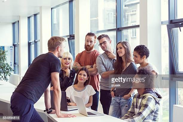 Busienss team brainstorming in an office