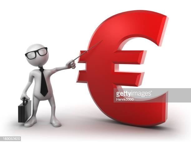 Busines presentation: Euro sign, isolated with clipping path