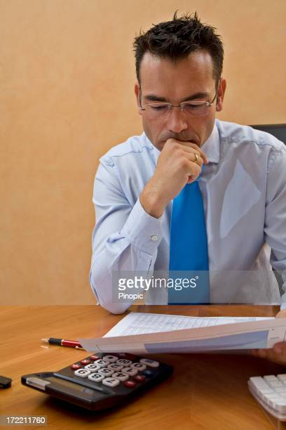 Businesman analyzing financial figures