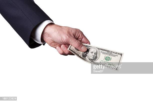 Businesman's Hand Holding a US 100 Dollar Bill