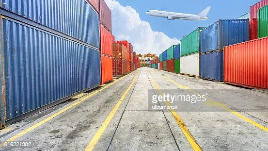 Business and logistics. Cargo transportation and storage. Equipm : Stock Photo