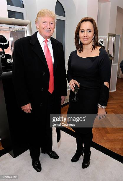Business and media personality Donald Trump with CEO of Ivanka Trump Fine Jewelry Andrea Hansen at the Ivanka Trump Fine Jewelry Collection Launch...