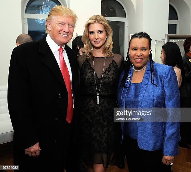 Business and media personality Donald Trump with entrepreneur and socialite Ivanka Trump and UN Foundation's Girl Campaign Director Kimberly Perry at...