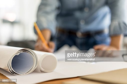 business, architecture drawing on blueprint architectural concep : Stock Photo